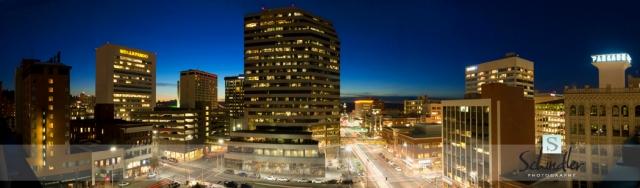 Spokane WA at dusk, November 2013